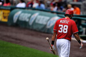 WASHINGTON, DC - JUNE 19: Michael Morse #38 of the Washington Nationals walks to the dugout after striking out against the Baltimore Orioles at Nationals Park on June 19, 2011 in Washington, DC. The Baltimore Orioles won, 7-4. (Photo by Patrick Smith/Getty Images)
