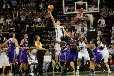 The biggest reason the Phoenix Mercury haven't beaten the Seattle Storm in KeyArena since 2009: center Lauren Jackson might be a pretty good start. Photo by Kailas Images.