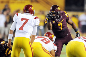 TEMPE, AZ - SEPTEMBER 24:   Vontaze Burfict #7 of the Arizona State Sun Devils points and yells at quarterback Matt Barkley #7 of the University of Southern California Trojans just prior to a play at Sun Devil Stadium on September 24, 2011 in Tempe, Arizona.  (Photo by Norm Hall/Getty Images)