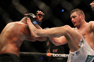Matt Mitrione took his first career loss at UFC 137 Saturday. How will he rebound? (Photo by Al Bello/Zuffa LLC via Getty Images)