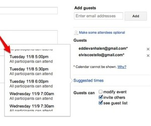 Google Calendar suggested time