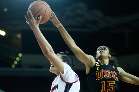 USC Trojans guard Briana Gilbreath has consistently been one of the best defenders in the conference formerly called the Pac-10. But how strong is she as a WNBA Draft prospect? Photo by Craig Bennett/112575 Media/