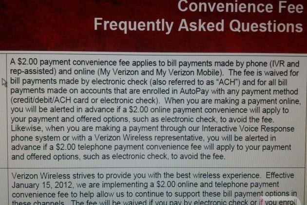 Verizon fee