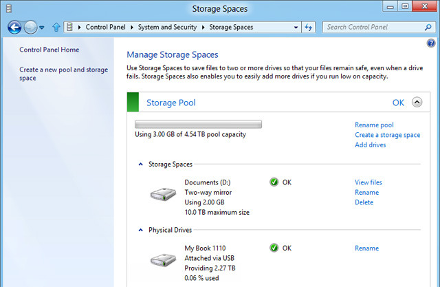 Windows 8 Storage Spaces