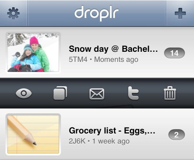 Droplr iPhone