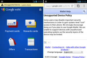 Google Wallet root warning