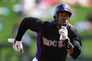 SCOTTSDALE, AZ - MARCH 05:  Eric Young #1 of the Colorado Rockies runs the bases during the spring training game against the Arizona Diamondbacks at Salt River Fields at Talking Stick on March 5, 2012 in Scottsdale, Arizona.  (Photo by Christian Petersen/Getty Images)
