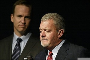 Mar 7, 2012; Indianapolis, IN, USA; Indianapolis Colts owner Jim Irsay (right) announces that quarterback Peyton Manning (left) will be released and become a free agent during a press conference at the Indiana Farm Bureau Football Center. Mandatory Credit: Brian Spurlock-US PRESSWIRE