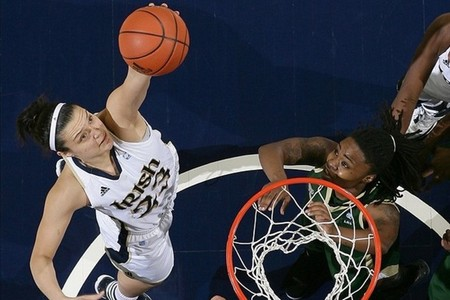 While Notre Dame Fighting Irish forward Devereaux Peters is one of the nation's top rebounders, players like Kayla McBride have also had to step up on the boards against UConn.  Matt Cashore-US PRESSWIRE