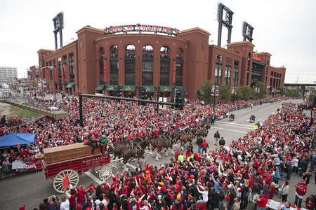 parade in front of Busch Stadium following the Cardinal's World Series win
