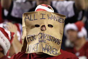 GLENDALE AZ - DECEMBER 25:  A fan of the Arizona Cardinals wears a bag on his head during the NFL game against the Dallas Cowboys at the University of Phoenix Stadium on December 25 2010 in Glendale Arizona.  The Cardinals defeated the Cowboys 27-26.  (Photo by Christian Petersen/Getty Images)
