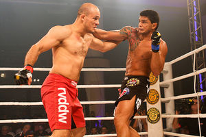 UFC fighter Siyar Bahadurzada (red trunks) vs. Carlos Alexandre Pereira in Brazil. Photo by Marcelo Alonso for Sherdog.