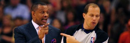 Apr. 18, 2012; Phoenix, AZ, USA; Phoenix Suns head coach Alvin Gentry (left) yells at a referee after being called for a technical foul in the second half against the Oklahoma City Thunder at the US Airways Center. Mandatory Credit: Mark J. Rebilas-US PRESSWIRE