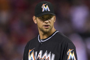 Apr 11, 2012; Philadelphia, PA, USA; Miami Marlins pitcher Josh Johnson (55) during the third inning against the Philadelphia Phillies at Citizens Bank Park. The Phillies defeated the Marlins 7-1. Mandatory Credit: Howard Smith-US PRESSWIRE