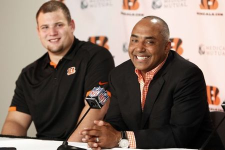 Apr 27, 2012; Cincinnati, OH, USA; Cincinnati Bengals second first round draft pick guard Kevin Zeitler (left) and head coach Marvin Lewis (right) speak during the press conference at Paul Brown Stadium. Mandatory Credit: Frank Victores-US PRESSWIRE