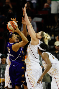 Seattle Storm forward Lauren Jackson defends Los Angeles Sparks forward Candace Parker in the Storm's 81-67 victory on Sunday night. Photo courtesy of Kailas Images.