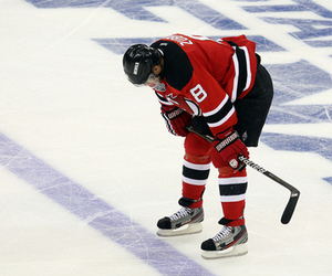 NEWARK, NJ - MAY 30: Dainius Zubrus #8 of the New Jersey Devils reacts after losing in overtime to the Los Angeles Kings during Game One of the 2012 NHL Stanley Cup Final at the Prudential Center on May 30, 2012 in Newark, New Jersey. (Photo by Jim McIsaac/Getty Images)