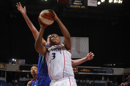 After a promising rookie year with the Sacramento Monarchs in their final season of existence, center Courtney Paris has struggled to find a place in the WNBA. Photo courtesy of the WNBA.