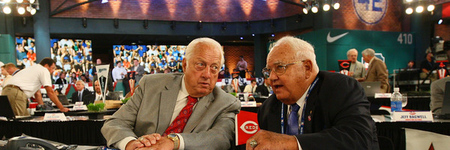 SECAUCUS, NJ - JUNE 07:  Team representative Tommy Lasorda and Ralph Avila both of the Los Angeles Dodgers look on during the MLB First Year Player Draft on June 7, 2010 held in Studio 42 at the MLB Network in Secaucus, New Jersey.  (Photo by Mike Stobe/Getty Images)