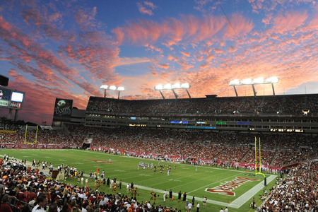 TAMPA, FL - OCTOBER 16:  The evening sky at sunset as the New Orleans Saints play against the Tampa Bay Buccaneers October 16, 2011 at Raymond James Stadium in Tampa, Florida. (Photo by Al Messerschmidt/Getty Images)