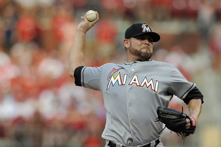 July 6, 2012; St. Louis, MO. USA; Miami Marlins starting pitcher Ricky Nolasco (47) throws to a St. Louis Cardinals batter in the first inning at Busch Stadium. Mandatory Credit: Jeff Curry-US PRESSWIRE