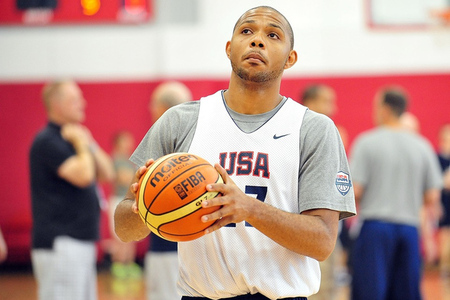 July 6, 2012; Las Vegas, NV, USA; Team USA guard Eric Gordon during practice at the UNLV Mendenhall Center. Mandatory Credit: Gary A. Vasquez-US PRESSWIRE