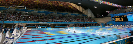 LONDON, ENGLAND - AUGUST 02:  A general view of the pool during the morning heats on Day 6 of the London 2012 Olympic Games at the Aquatics Centre on August 2, 2012 in London, England.  (Photo by Clive Rose/Getty Images)