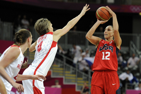 Aug 3, 2012; London, United Kingdom; USA guard Diana Taurasi (12) shoots over Czech Republic forward Jana Vesela (4) in the women's preliminary game during the London 2012 Olympic Games at Basketball Arena. Photo by Richard Mackson-USA TODAY Sports.