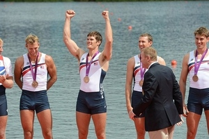 team usa s men s four rowers celenbrate bronze photo matt kryger usa