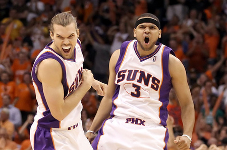 PHOENIX - MAY 25:  Jared Dudley #3 and Louis Amundson #17 of the Phoenix Suns celebrate after Dudley hit a 3 point shot against the Los Angeles Lakers in the fourth quarter of Game Four of the Western Conference finals of the 2010 NBA Playoffs at US Airways Center on May 25, 2010 in Phoenix, Arizona. The Suns defeated the Lakers 115-106.  NOTE TO USER: User expressly acknowledges and agrees that, by downloading and or using this photograph, User is consenting to the terms and conditions of the Getty Images License Agreement.  (Photo by Christian Petersen/Getty Images)