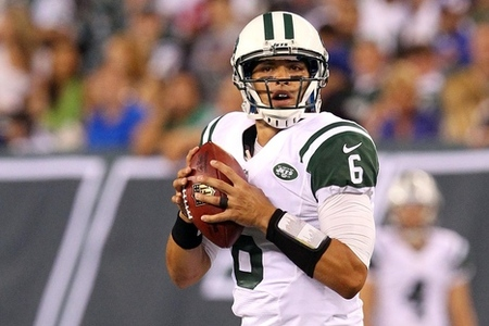 August 18, 2012; East Rutherford, NJ, USA; New York Jets quarterback Mark Sanchez (6) drops back to pass during the second quarter of a preseason game against the New York Giants at MetLife Stadium. Mandatory Credit: Brad Penner-US PRESSWIRE