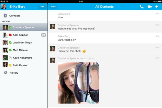 iPad Skype 4.1 photo sharing screenshot