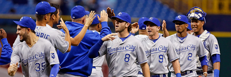 ST. PETERSBURG, FL - AUGUST 21:  The Kansas City Royals celebrate their victory over the Tampa Bay Rays at Tropicana Field on August 21, 2012 in St. Petersburg, Florida.  (Photo by J. Meric/Getty Images)