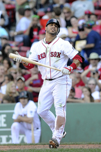 August 26, 2012; Boston, MA, USA; Boston Red Sox shortstop Mike Aviles (3) reacts during the seventh inning against the Kansas City Royals at Fenway Park. Mandatory Credit: Bob DeChiara-US PRESSWIRE