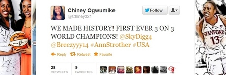 Chiney Ogwumike tweets after winning 3x3 world championship