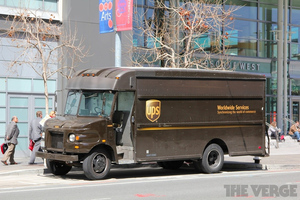 UPS truck mail SF moscone center west stock 1024