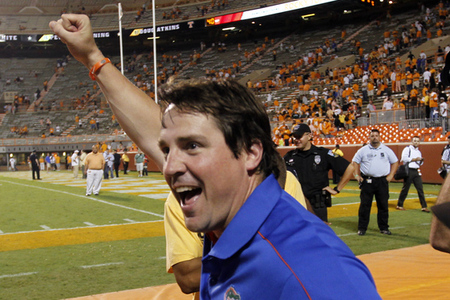 Will Muschamp...smiles?  (Photo by John Sommers II/Getty Images)