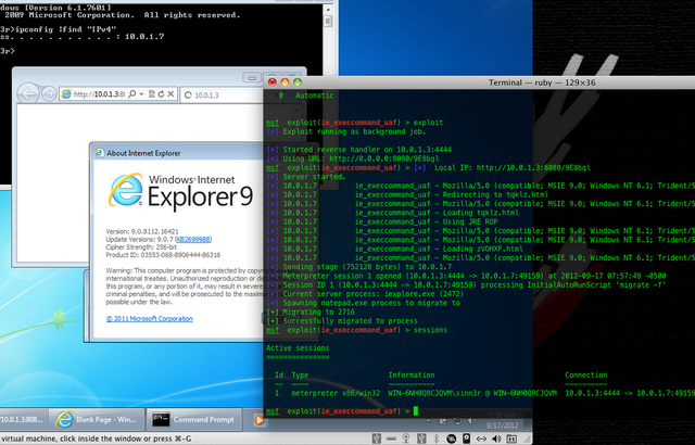 Internet Explorer zero-day vulnerability (Metasploit)