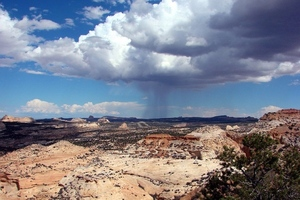 Rain over Utah Badlands (Credit: Don Graham, Flickr)