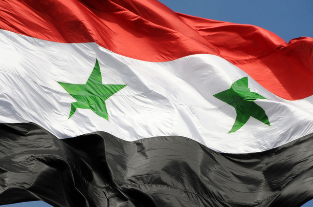 The flag of syrian arab republic damascus syria large verge medium