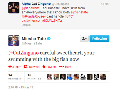 Zingano on Miesha Tate Vs  Cat Zingano Begin Twitter Beef   Mmamania Com