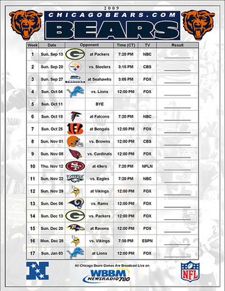 photo about Chicago Bears Schedule Printable known as Printable chicago bears video game plan Trials Eire