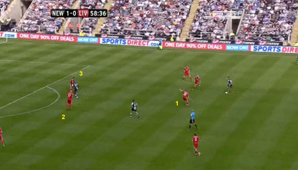 liverpool newcastle spearing goal