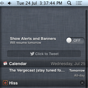 Notification Center toggle