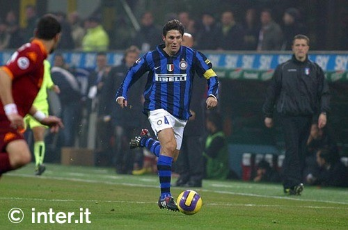 Javier Zanetti, bringing home the point against Roma