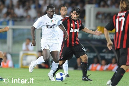 Muntari and Gattuso during the 2008 TIM Trophy