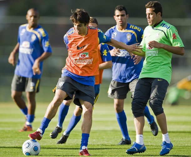 Julio Cesar, Lucio, and Maicon play with Kaka