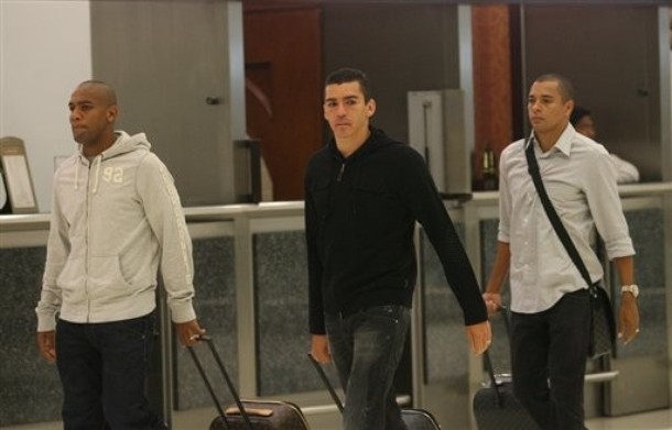 Maicon and Lucio in Qatar for Brazil England friendly