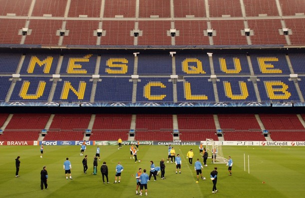 Inter training at Camp Nou before the CL game
