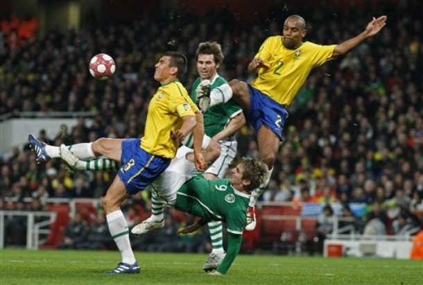 Maicon and Lucio with Brazil against Ireland